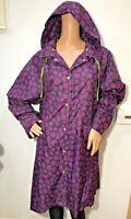 Laura Ashley navy blue purple spot long rain Mac hood size 14-16 waterproof coat