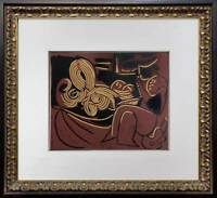"Pablo Picasso LINOGRAVURE LTD Ed. Plate Marked ""... a la guitare"" w/ Frame"
