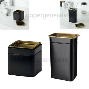 Tea Coffee Sugar Tin Jar Box Canisters Black Square Airtight Golden Nut Storage