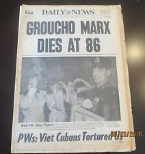 08/20/1977 - NY NEWSPAPER - GROUCHO MARX DIES + SON OF SAM COP IS MADE DETECTIVE