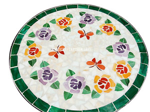 "24"" White Marble Coffee Table Top Malachite Inlay Mosaic Art Kitchen Decor H2456"
