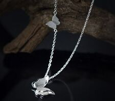18K Silver Titanium Stainless Steel Butterfly Pendant Necklace Love Gift Box P28