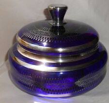Vtg Art Nouveau Sterling Overlay Cobalt Blue Glass Powder Box Vanity Dresser Jar