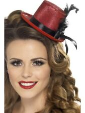Smiffys Mini Tophat Ribbon and Feather - Red/black