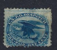 USA CARRIERS' STAMP 1851 US PO DESPATCH PRE-PAID ONE CENT BLUE