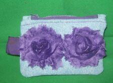 Denim Coin Purse w/ Purple Fabric  Flowers & Key Ring -Handmade