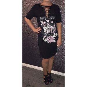 Black lace up rock print tshirt dress. Size S/M - 8/10,  M/L - 10/12.