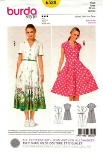Burda Sewing Pattern 6520 Style Women's Shirt Dress Size EUR 34-46 US 8-20