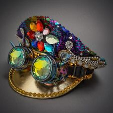 Rhinestones 3D Goggles Lens Festival Party Top Hat Burning Man Headwear Costume