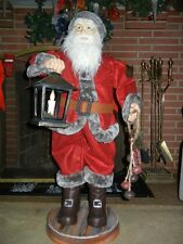 ANIMATED ELF SANTA CHRISTMAS DISPLAY FIGURE with LIGHTED LANTERN