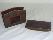 Vintage Faux Embossed Tooled Leather Blotter and Letter Holder