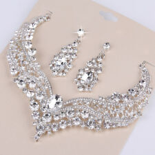 Wedding Bridal Queen Style Shiny Rhinestone Necklace Earrings Jewelry Set Frugal