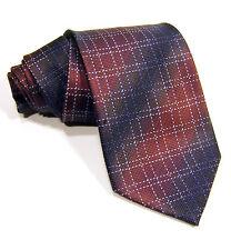 KENNETH COLE Wine & Blue 100% Silk Mens Woven Neck Tie Checks Stripes