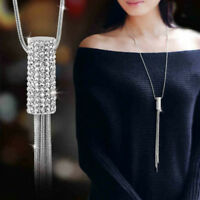 Women Full Cubic Zircon Cylinder Pendant Long Chain Tassel Sweater Necklace CHIC