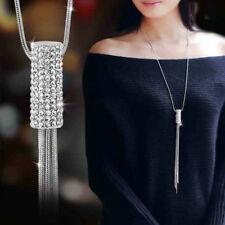 Women Full Cubic Zircon Cylinder Pendant Gift Long Chain Tassel Sweater Necklace