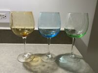 "Set Of 3 Mikasa Crystal Colors ""Cheers Collection"" Pastel Balloon Wine Glasses"