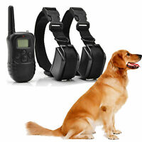 Pet Dog Electric Shock Training 2 Collar Rechargeable Waterproof 330Yard Remote