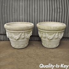 "Pair of 22""H x 28"" 1988 Pinellas Cast Stone Cement Round Garden Planters Vtg"