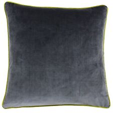 Riva Paoletti Meridian Cushion Cover Charcoal With Moss Edging 55cm X 55 Cm