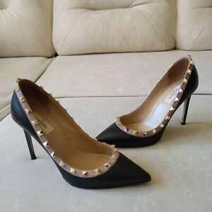 Valentino Rockstud Black Leather Pointed Toe Pumps Heels 38