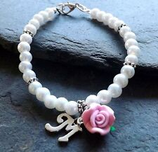 White Glass Pearls Pink Rose Personalised Initial Bracelet Bridesmaid Wedding