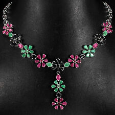 """Silver 925 Genuine Natural Sapphire, Emerald & Pink Ruby Floral Necklace 19-21"""""""