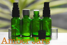 6 x 20ml Green Glass Bottle with Spray Mist top - Aromatherapy travel or sample