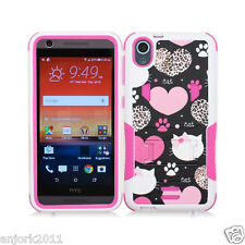 For HTC Desire 626 / 626s / 530 Hybrid Case w/Stand Skin Cover Love Cats