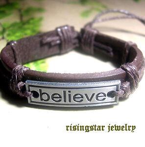 "Cool ""Believe"" Theme Leather Fashion Surfer Biker Character Bracelet Wristband"