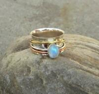 Rainbow Moonstone Ring Solid 925 Sterling Silver Spinner Ring Meditation Ring