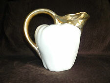 CERAMIC CREAMY WHITE PITCHER TOPPED WITH GOLD LEAVES & HANDLE/APPLE SHAPE