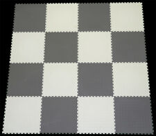 GREY & WHITE CHECK PVC INTERLOCK TILES /GARAGE FLOORING /RUMPUS/GYM/ALL PURPOSE