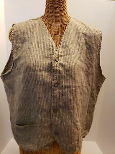 FLAX By Jeanne Engelhart RETIRED Linen Sleeveless Shirt Vest Yellow Purple Large