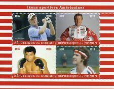 Congo 2018 CTO Muhammad Ali Mario Andretti 4v M/S I Tennis Golf Boxing Stamps