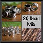 20 Bead Mix - 10 Tibetan Silver 7mm + 10 Metal Silver 8mm Dreadlock Hair Beads