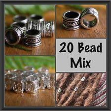 20 Bead Mix 10 Tibetan Silver10 Silver Filigree 7mm (9/32) Dreadlock Hair Beads