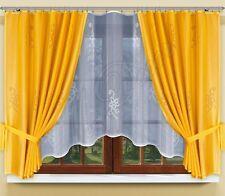 Moderne, jacquard set filet rideaux avec rideaux ruban blanc/or