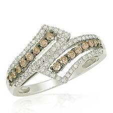 Chocolate Brown & White Diamond Ring 10K White Gold Diamond Bypass Band .50ct
