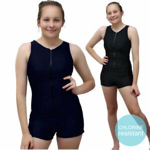 Womens Boyleg Chlorine Resistant Swimsuit One Piece Zip Up Bathingsuit Swimmers