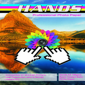 Hands A4 190gsm Resin Coated Satin Photo Paper (25 & 50 Sheets)