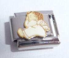 BABY ANGEL Italian Charm White Wings Faith Love 9mm fit Classic Starter Bracelet