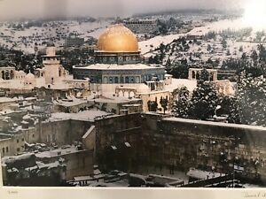 Rare Framed Picture of Israel's Temple Dome In Snowfall 2000 Excellent Condition