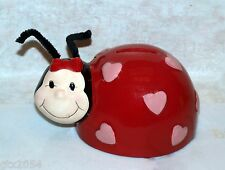 Ladybug Ceramic Coin Bank with Pink Hearts