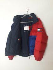 Tommy Hilfiger vintage reversible box logo colorblock puffer down jacket S/M