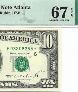 1995 $10 ATLANTA * STAR * ⭐️ FRN, PMG SUPERB GEM UNCIRCULATED 67 EPQ BANKNOTE