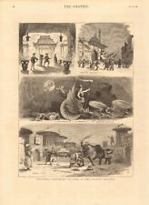 1880 ANTIQUE PRINT - CHRISTMAS PANTOMIMES AT SOME LONDON THEATRES