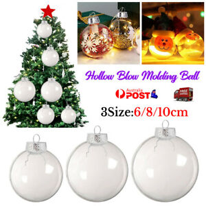 1~50PCS Christmas Ball Plastic Baubles Clear Fillable Xmas Tree Decor Ornament