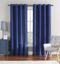 Single (1) Indigo Blue Window Curtain Panel: Faux Silk, Silver Grommets, 55x90