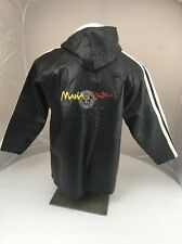Vintage Santana Mana black Faux leather hooded jacket Concert Embroidered RARE