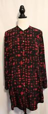 SUSSAN ~ Dark Red Black Geometric Print Polyester Shirt Dress w Pockets 16
